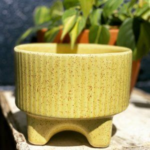 Vintage Mid Century Yellow Pottery Planter MCM